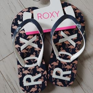 ROXY flamingo blue flip flops NEW